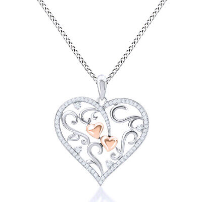 1/4 Ct Diamond Heart Shaped Pendant 14K Rose Gold Over Sterling Valentine Gifts