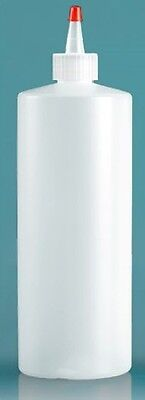 Lot of 66 32oz (960ml) HDPE Plastic Cylinder Bottles with Yorker Dispensing Caps
