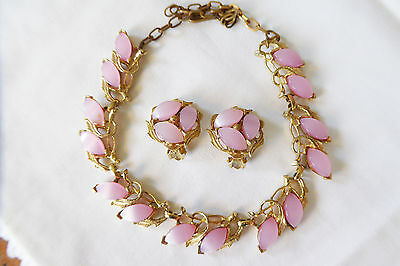 Vtg Glowing Lilac Purple Moonglow Thermoset Golden Leaf Necklace Earrings Set
