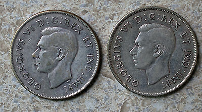 1943 1944 Silver Canada 50 Cents 2 Coin Lot Canadian Half $ KM#36