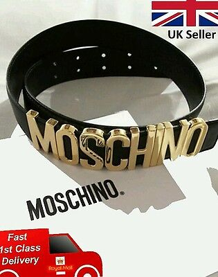 Brand New Black Leather Belt With Metallic Gold Letters Moschino Belt Style