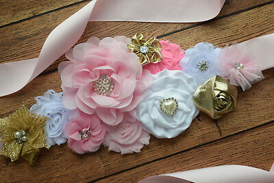 Sash,pink gold white sash , flower Belt, maternity sash, baby shower sash