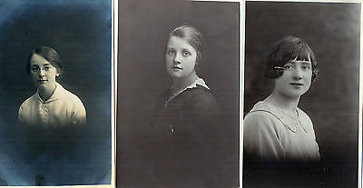 Lot Of 3 Antique Original Postcards - Ladies, (RP)