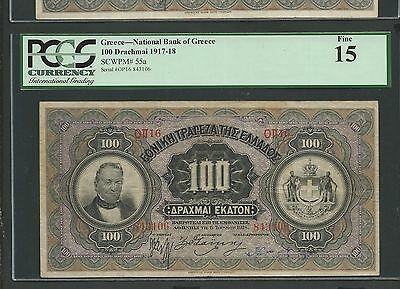 """National Bank of Greece Drachmae 100/1918 """"Akropolis"""" PCGS 15 F! Extremely rare!"""