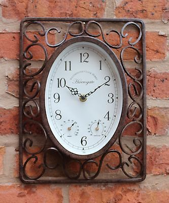 Outdoor indoor Garden wall Clock steam punk metal  temperature and humidity