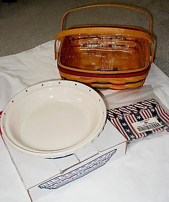 New 1998 Longaberger All American Pie Basket W/ Pie Plate,protector,liner,tie On