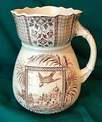 Aesthetic Transferware Fluted Rim Pitcher - Brown & White
