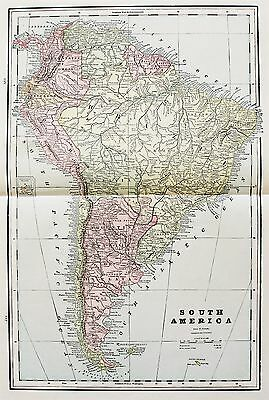 1891 SOUTH AMERICA MAP Patagonia Argentine Republic Brazil Amazon Original