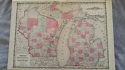 Johnson's Antique Map 1860  Michigan & Widconsin
