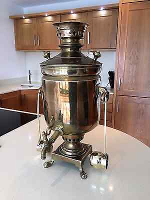 Antique Russian Imperial Brass Urn Samovar With Two Ladle Cups