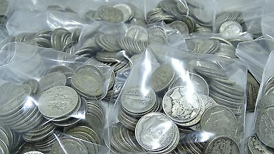 Lot of 1000 COINS $100 FACE Mercury & Roosevelt Dimes 90% Silver MIXED DATE LOT