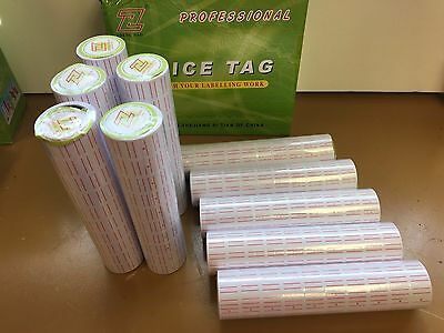 Refill White and Red Line Tags Labels for MX-5500 Price Tag Gun Sticker