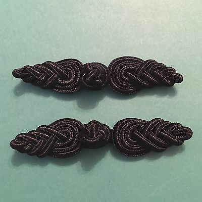 Pair Of Black Frog Fasteners 8 cm #439