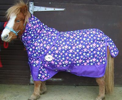 """Mini/ Shetland/ Pony 1200D No Fill Purple Star Turnout Rug With Neck 3' To 4'3"""""""