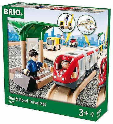 BRIO Rail & And Road Travel Train Set Wooden Toy New Free Post