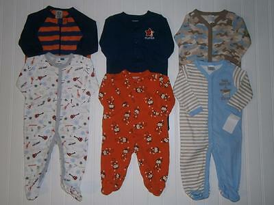 Baby Boys 0-3 Months ** SLEEPWEAR LOT ** Cotton FOOTED SLEEPERS Pajamas OnePiece