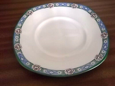 Squarish Palissy Plate With A Blue Floral Band