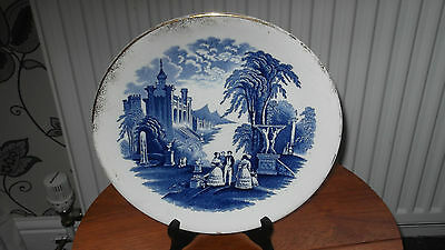 Wedgwood & Co Blue And White Decorative Plate With A Scene Of People Talking