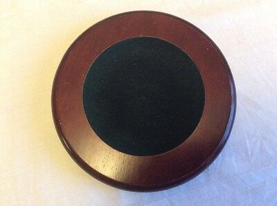 A Old Wooden Display Stand Dipped With Dark Green Velvet Like Inset.