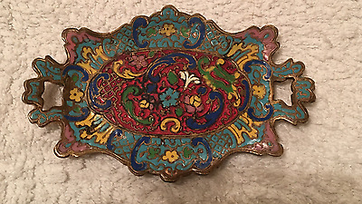 French Champleve Tray Antique  Bronze  Enamel 19thC