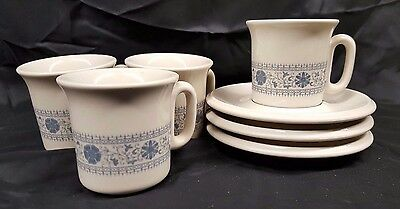 Espresso Demitasse set of 4 cups & 3 saucers by ACF Made in Italy, blue floral