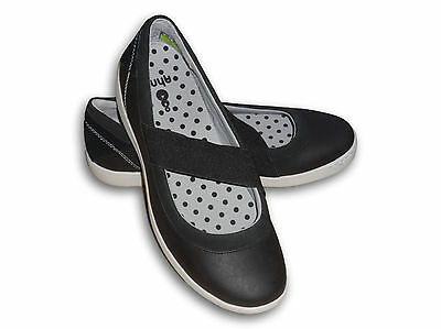 New AHNU Telegaph Black Leather Women's Mary Jane Flat Shoes Size 8 US