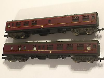 2 x LIMA N GAUGE MODEL RAILWAY MAROON COACHES CARS 1823 BUFFET 35024 BRAKE COACH