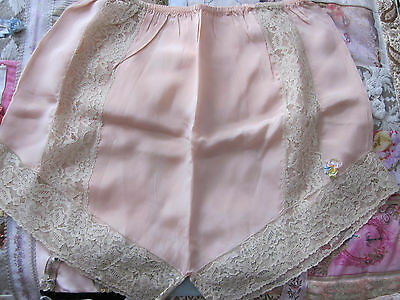 """Roaring 20's Exquisite Silk Tap Pants 3""""french Lace With H.m. Ribbonwork Peach"""