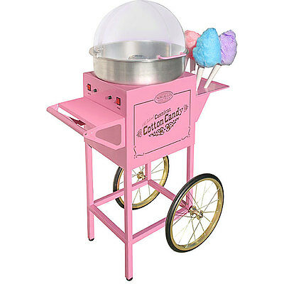 Commercial Rolling Pink Concession Cart Vintage Style Cotton Candy Machine