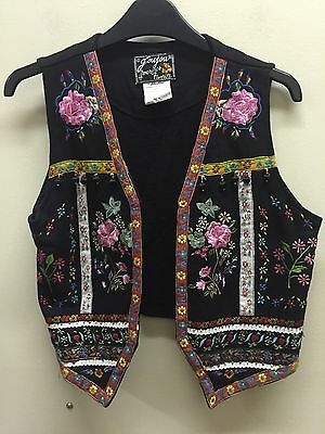 Vtg S Embroidered Vest Boho Ethnic Bold Colorful Jou Jou EUC