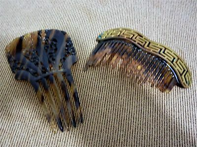 Vintage Faux Tortoise Shell Hair Comb + Brass Copper Faux Tortoise Shell Comb