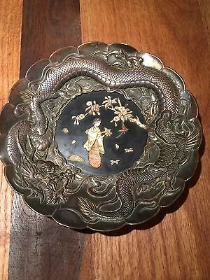 Asian Antique Chinese Style Silver Plate Platter with Dragon and Inlaid Center