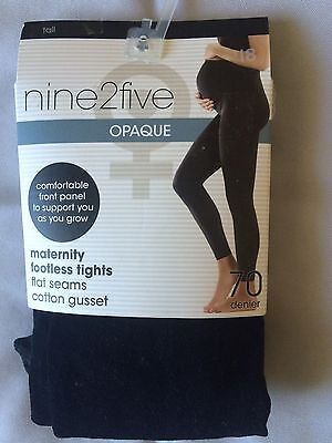 Maternity Footless Leggings Tall Black Opaque 70Denier  New In Pack Free Post