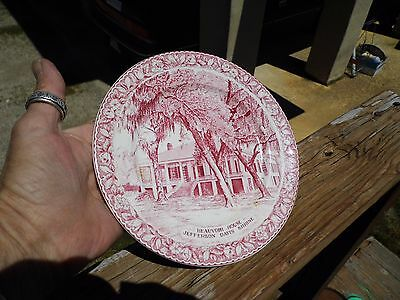 Vintage Civil War Beauvoir House Jefferson Davis Shrine Red Transferware Plate
