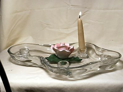 Tiffin Ohio Art Glass Fower Floater Candlestick / Candle Holder
