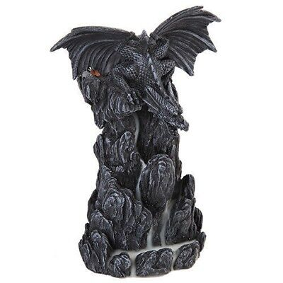 "Medieval Dragon on Rock Backflow Tower Incense Burner Decoration Figurine 8""H"