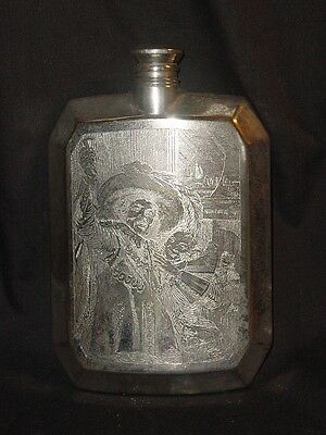 Antique Etched Liquor Silvercraft Flask - Musketeer & Lady