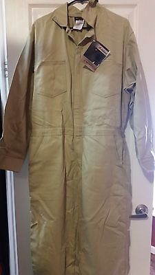 Beand NEW Indura FRC Work Industrial Men's Khaki Coveralls Long Sleeve Large 9oz