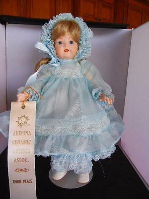 "Award Winning Reproduction 14""  Blonde Ceramic ""Elisa"" Doll with Award Ribbon"