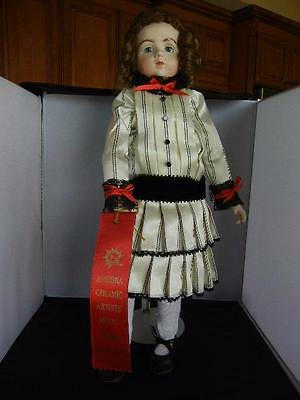 "Award Winning A marque 20"" Reproduction Porcelain Jointed Doll  Red Place Ribbon"
