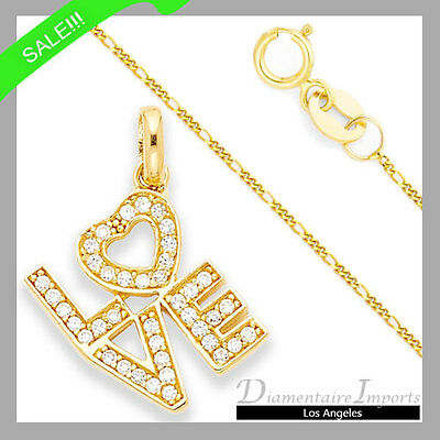 0.40 CTW Round Brilliant Cut LOVE Necklace In 14k Yellow Gold 16 Inches