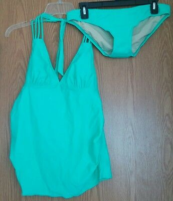 Womens Liz Lange maternity 2 pc tankini NWT size small jade top and bottom