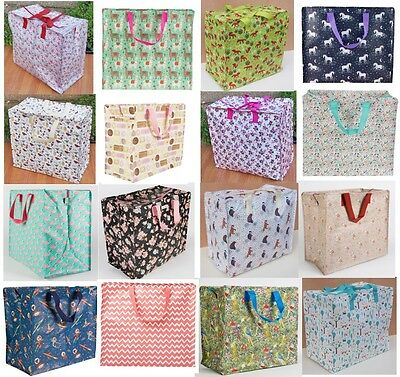 Large Vintage Floral Laundry Shopping Storage Tote Bag Reusable Bags Zipped