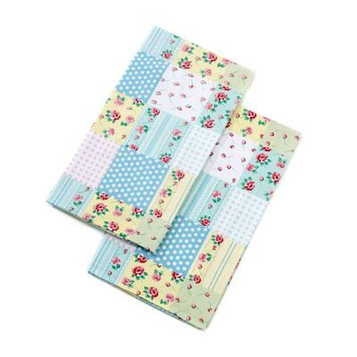 WHAT'S COOKING SET COORDINATO TESSILE DA CUCINA MOTIVO PATCHWORK CON ROSE Nuovo
