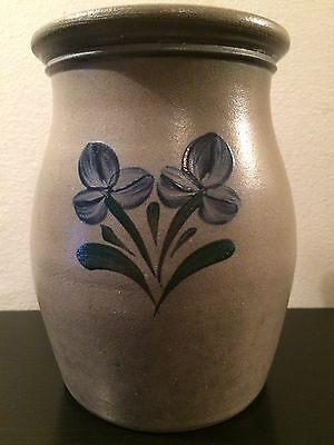 1997 Rowe Pottery Works RARE Blue Green & Gray Salt Glaze Crock 6 5/8""
