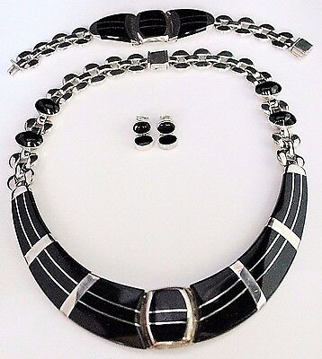 Vintage Estate 950 Sterling Inlay Onyx Necklace, Bracelet Earrings Set, Mexico