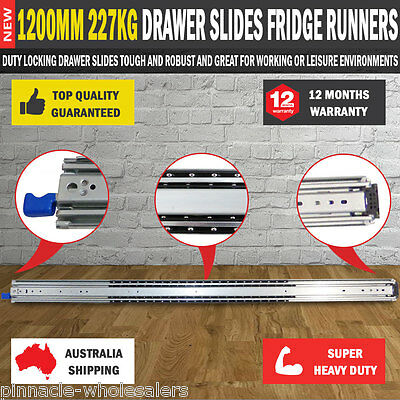 NEW 2 X1200MM 227kg Drawer Slides Fridge Runners Heavy Duty 4X4 4WD Ball Bearing