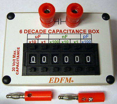 DECADE CAPACITANCE SUBSTITUTION BOX With 2 BANANA PLUGS