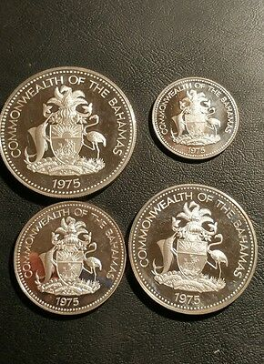 Lot of 4, 1975, Bahamas Silver Proof Coins.
