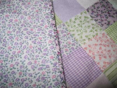Martex *Expectations* Patchwork BABY CRIB QUILT Lilac Gingham Florals Pink Green
